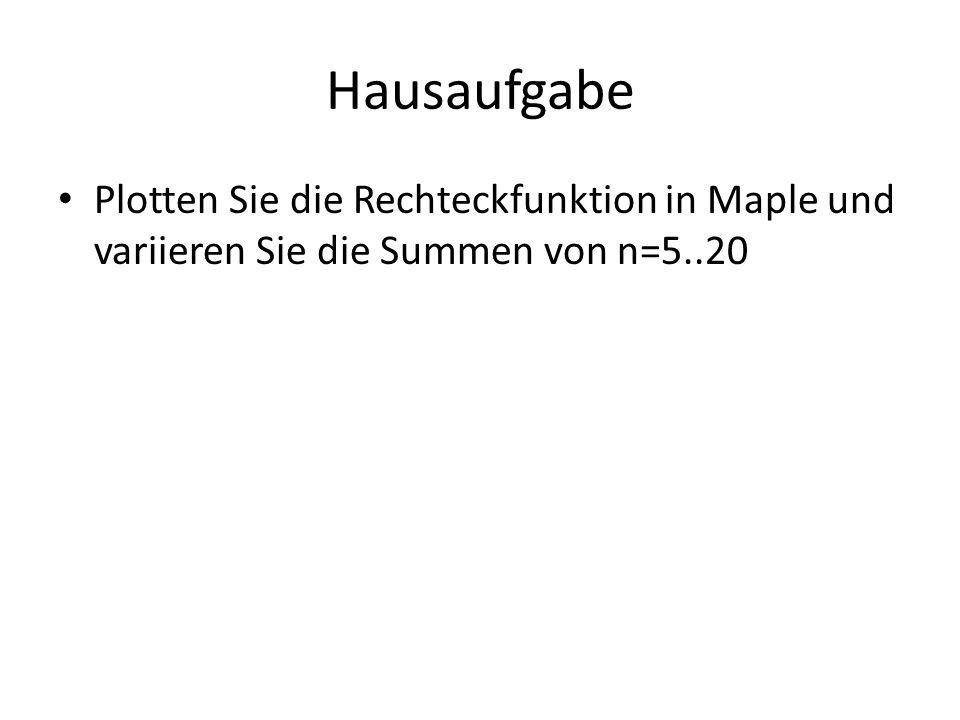 Hausaufgabe Plotten Sie die Rechteckfunktion in Maple und variieren Sie die Summen von n=5..20