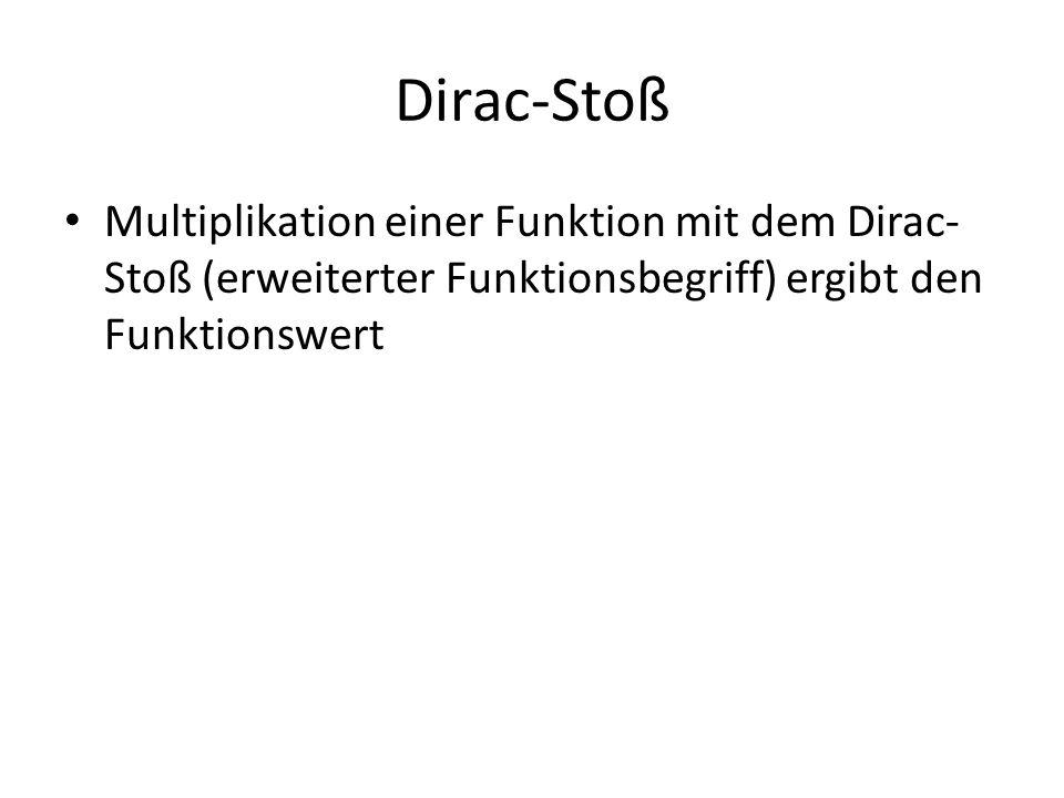 Dirac-Stoß Multiplikation einer Funktion mit dem Dirac-Stoß (erweiterter Funktionsbegriff) ergibt den Funktionswert.