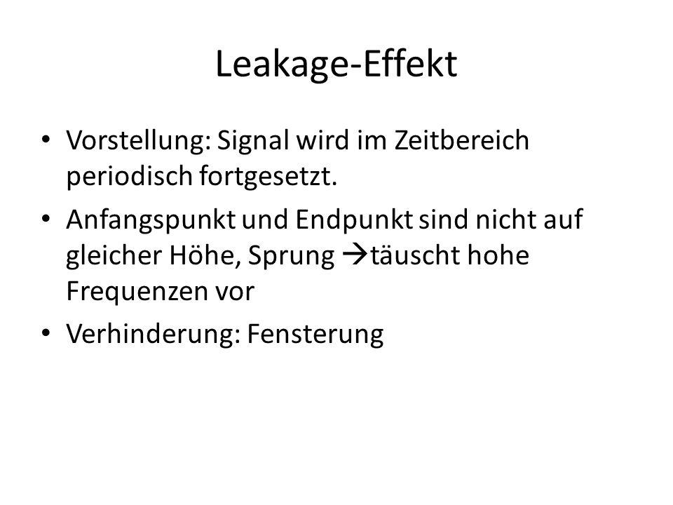 Leakage-Effekt Vorstellung: Signal wird im Zeitbereich periodisch fortgesetzt.