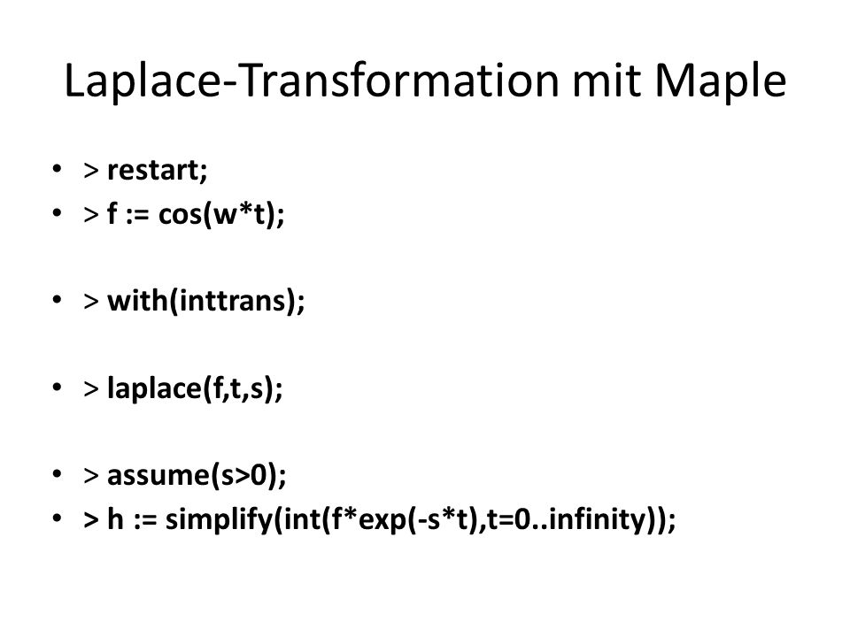 Laplace-Transformation mit Maple