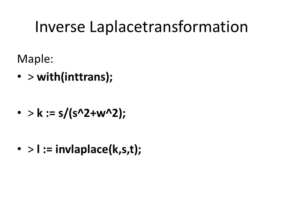 Inverse Laplacetransformation