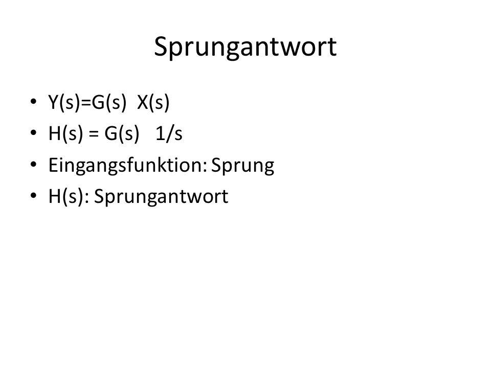 Sprungantwort Y(s)=G(s) X(s) H(s) = G(s) 1/s Eingangsfunktion: Sprung