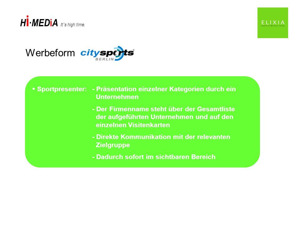 Werbeform Sportpresenter: - Präsentation einzelner Kategorien durch ein Unternehmen.