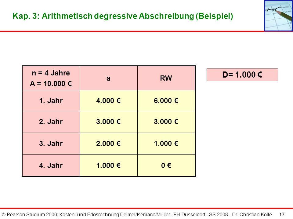 Kap. 3: Arithmetisch degressive Abschreibung (Beispiel)