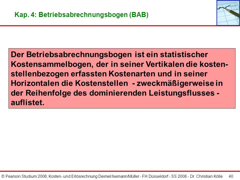 Kap. 4: Betriebsabrechnungsbogen (BAB)