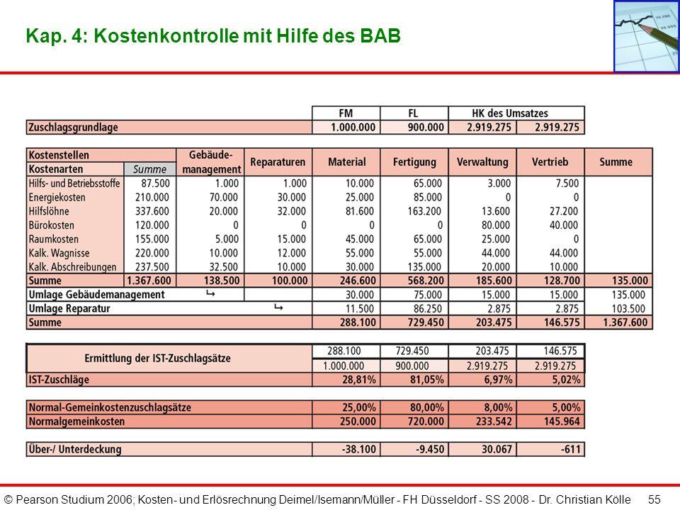 Kap. 4: Kostenkontrolle mit Hilfe des BAB