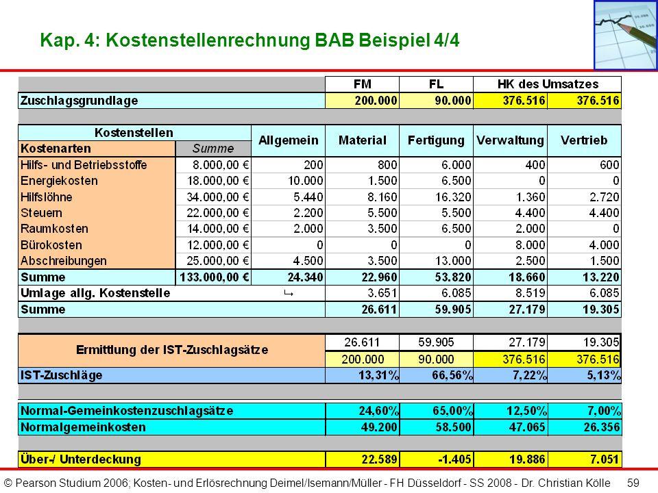 Kap. 4: Kostenstellenrechnung BAB Beispiel 4/4