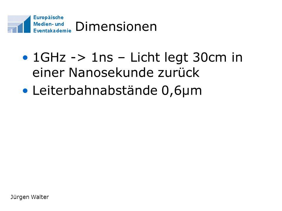 1GHz -> 1ns – Licht legt 30cm in einer Nanosekunde zurück