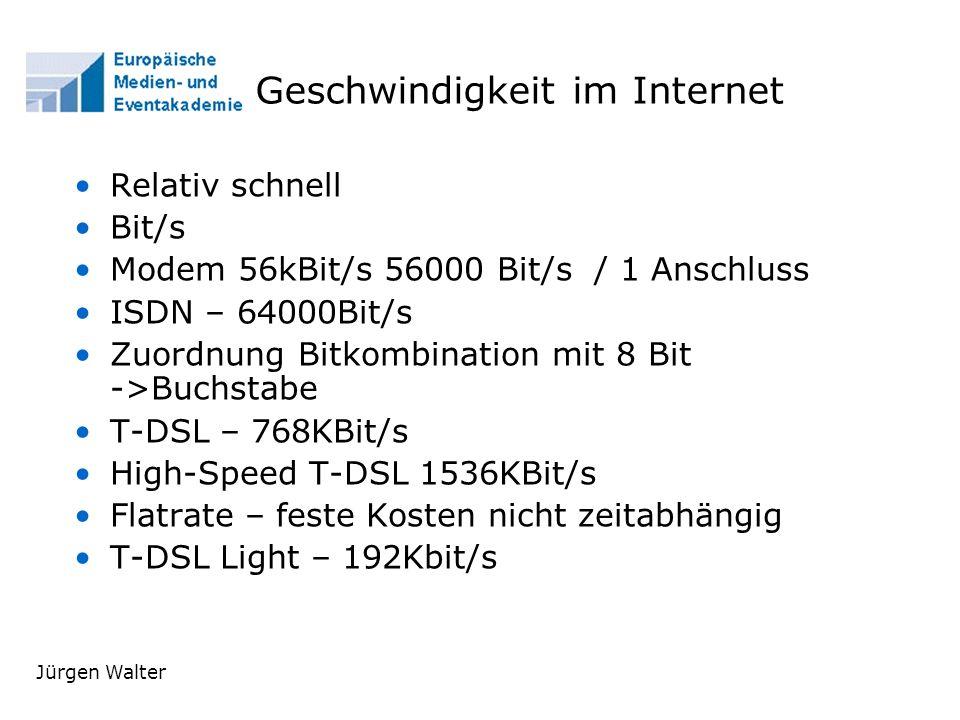 Geschwindigkeit im Internet