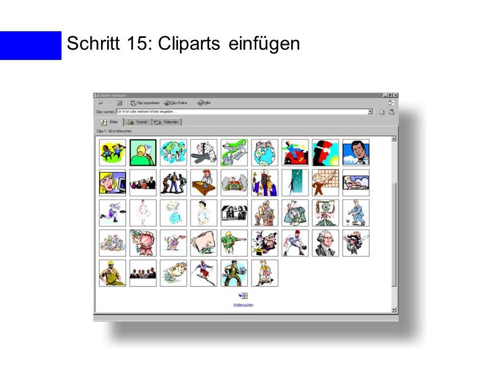 Schritt 15: Cliparts einfügen
