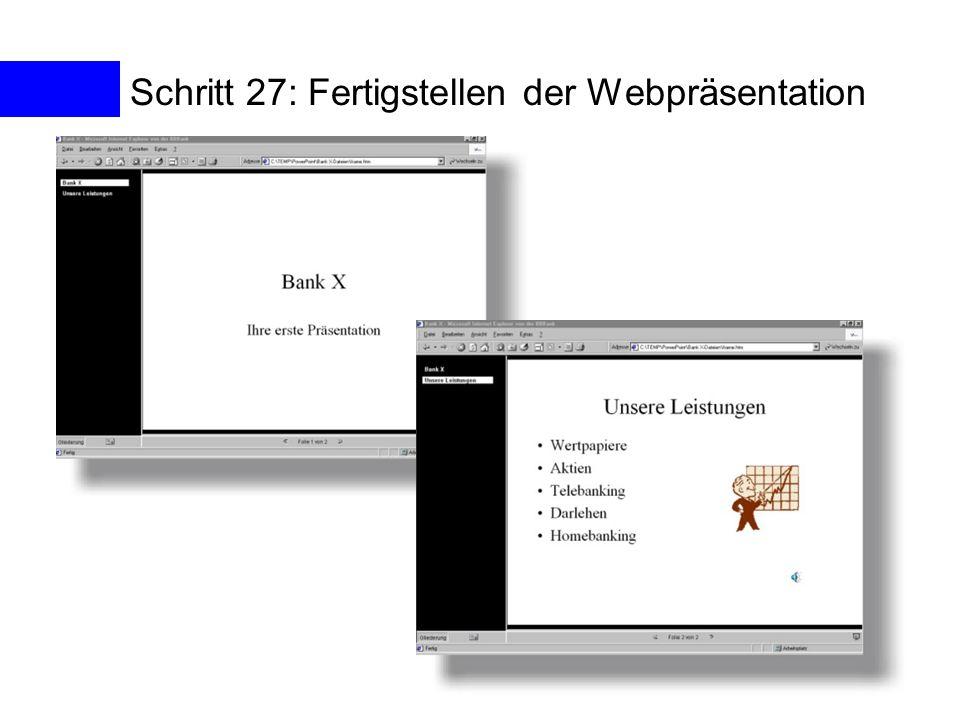 Schritt 27: Fertigstellen der Webpräsentation