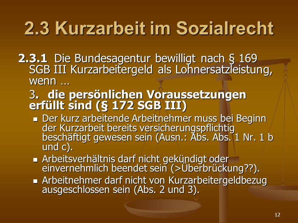 2.3 Kurzarbeit im Sozialrecht