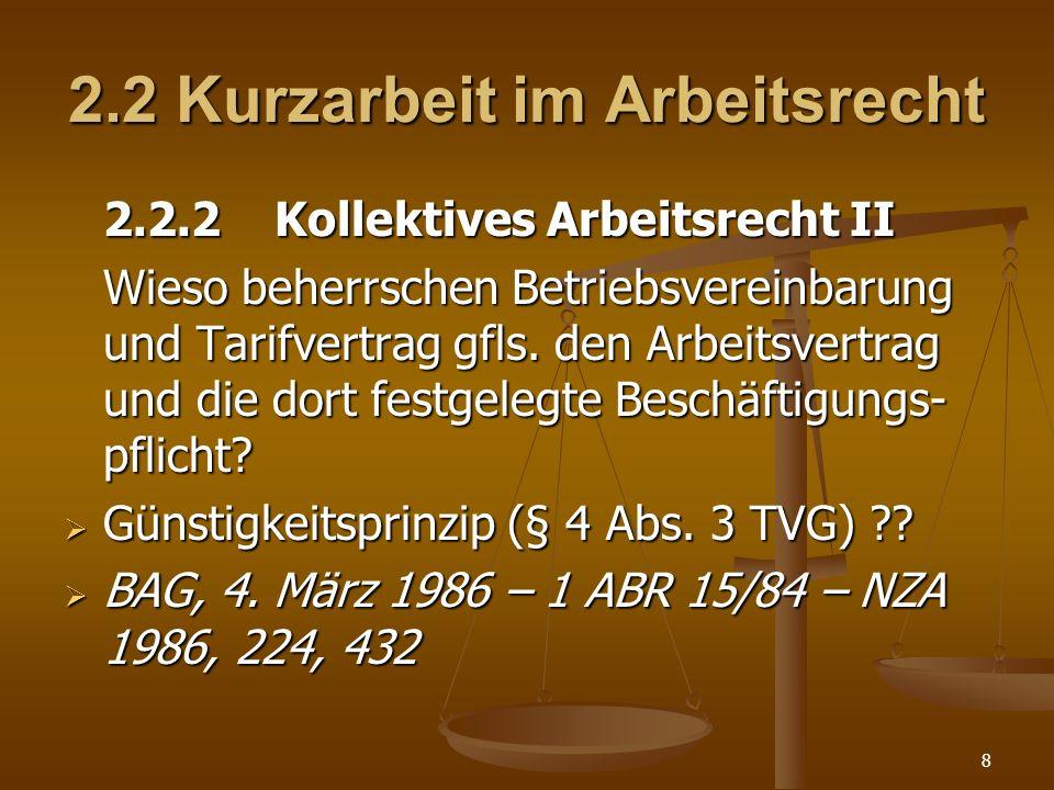 2.2 Kurzarbeit im Arbeitsrecht