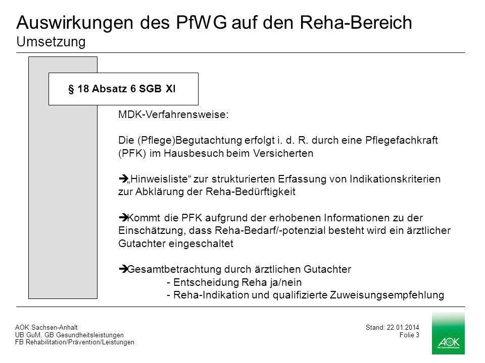 Auswirkungen des PfWG auf den Reha-Bereich Umsetzung