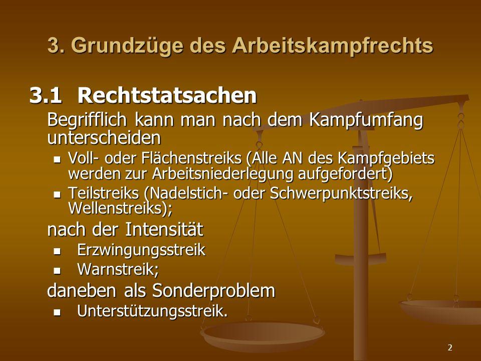 3. Grundzüge des Arbeitskampfrechts