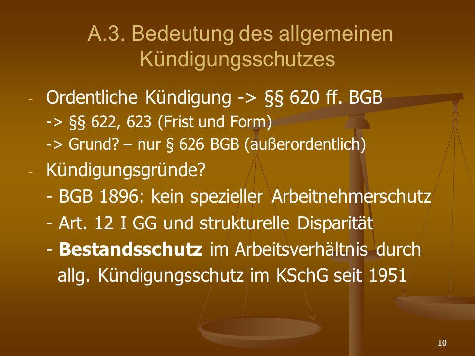 A.3. Bedeutung des allgemeinen Kündigungsschutzes