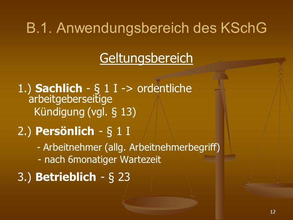 B.1. Anwendungsbereich des KSchG