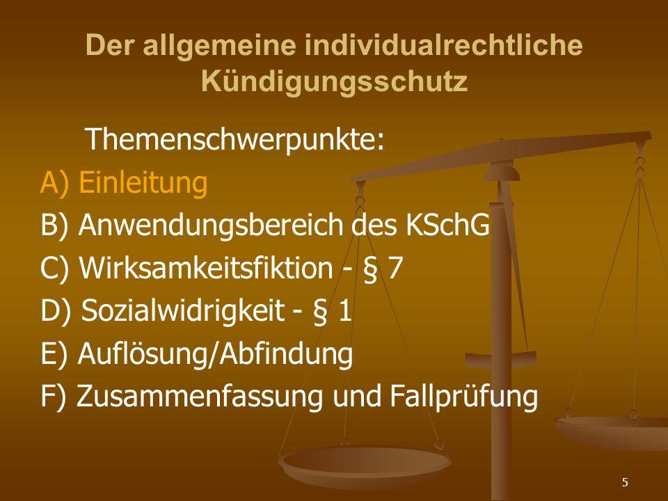 Der allgemeine individualrechtliche Kündigungsschutz