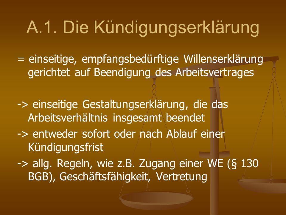 A.1. Die Kündigungserklärung