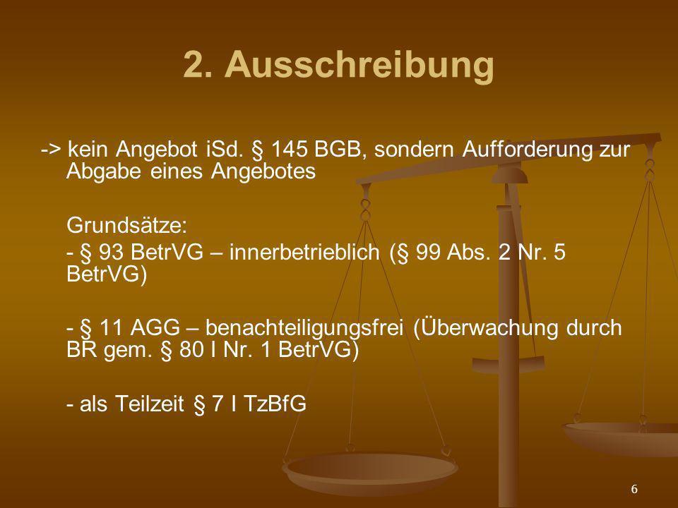 2. Ausschreibung -> kein Angebot iSd. § 145 BGB, sondern Aufforderung zur Abgabe eines Angebotes. Grundsätze: