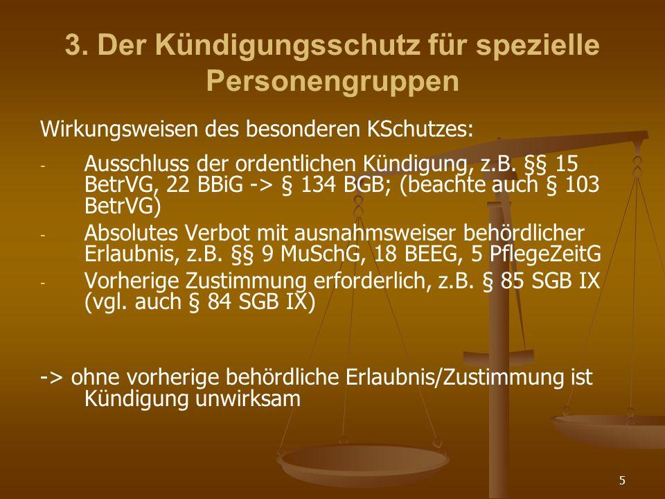 3. Der Kündigungsschutz für spezielle Personengruppen
