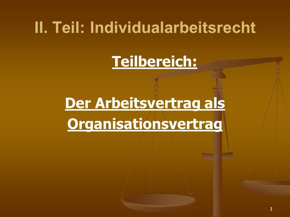 II. Teil: Individualarbeitsrecht
