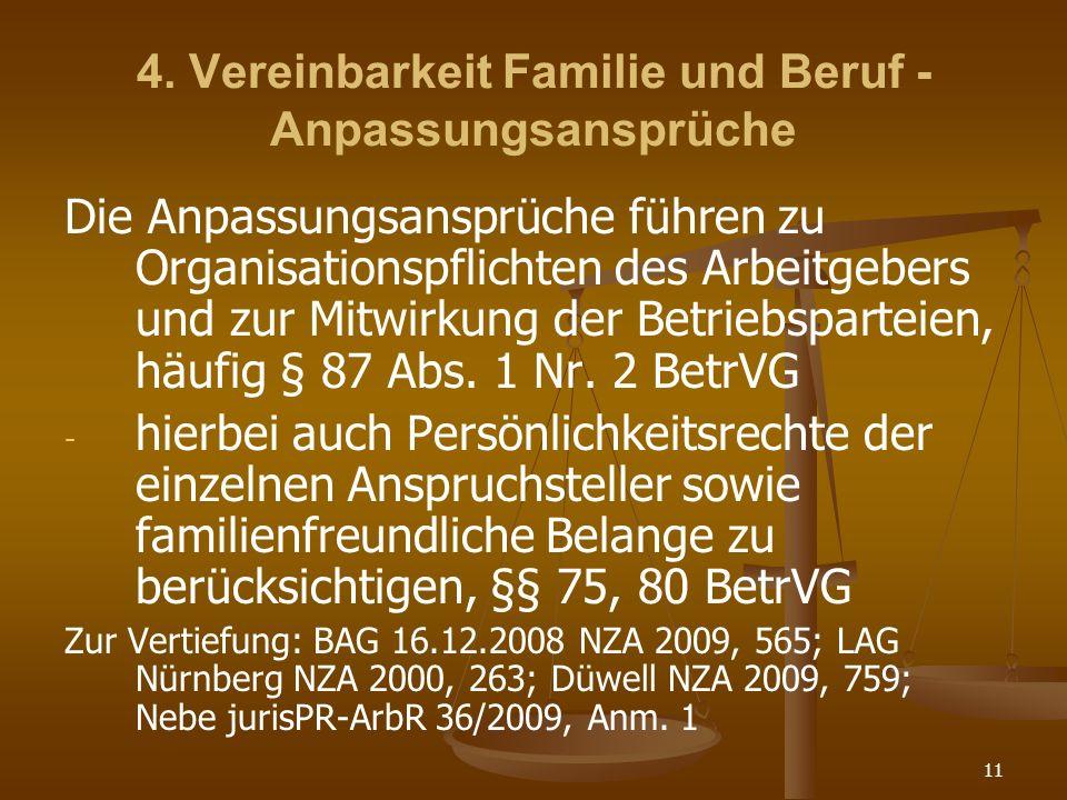 4. Vereinbarkeit Familie und Beruf - Anpassungsansprüche