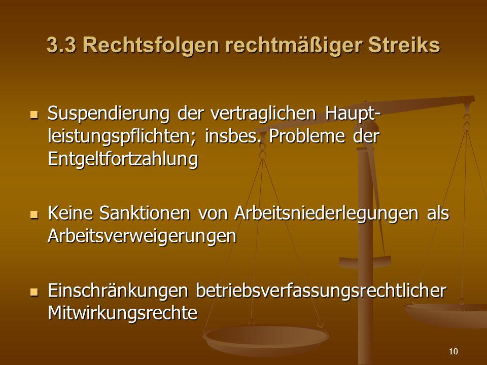 3.3 Rechtsfolgen rechtmäßiger Streiks