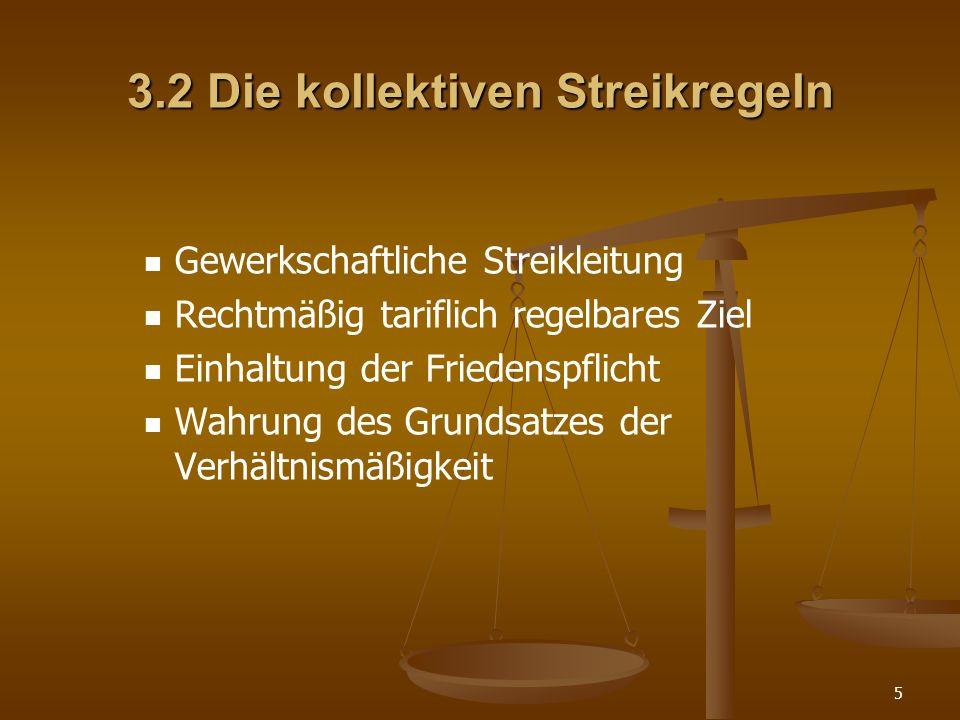3.2 Die kollektiven Streikregeln