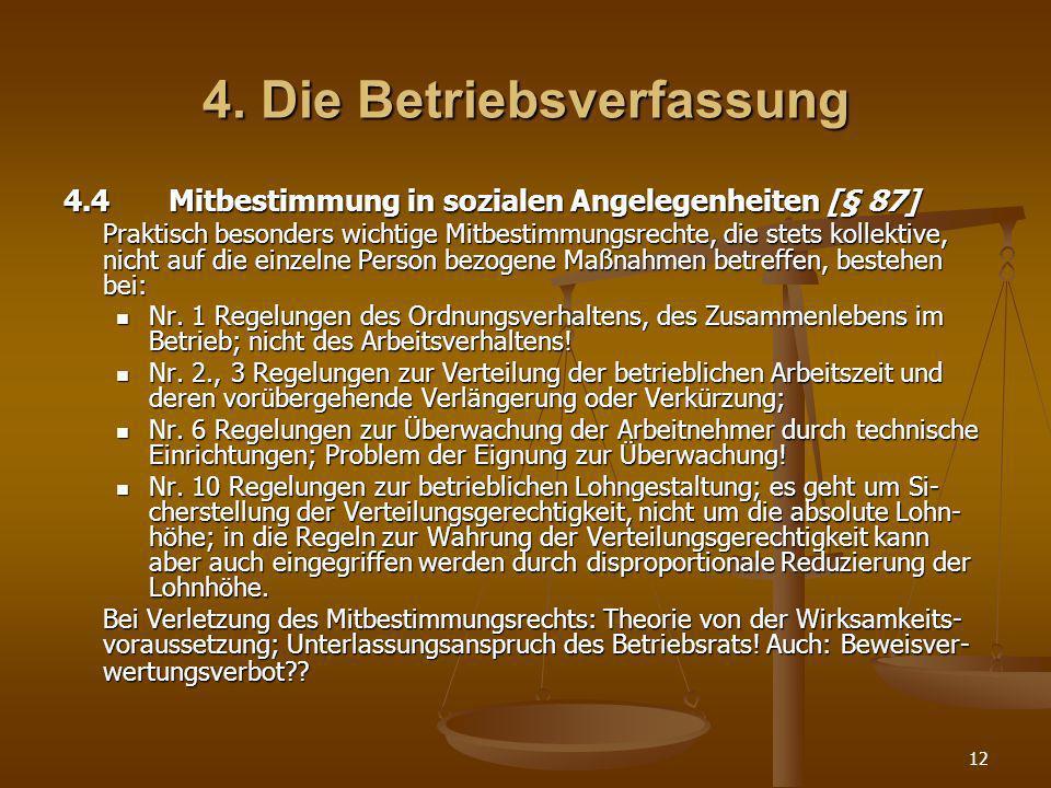 4. Die Betriebsverfassung