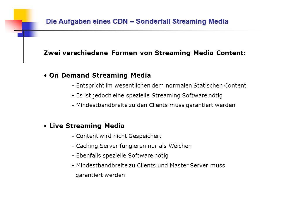 Die Aufgaben eines CDN – Sonderfall Streaming Media