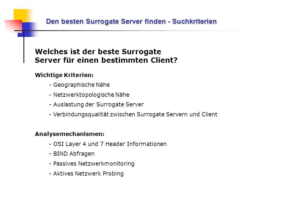 Den besten Surrogate Server finden - Suchkriterien
