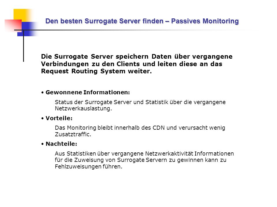 Den besten Surrogate Server finden – Passives Monitoring