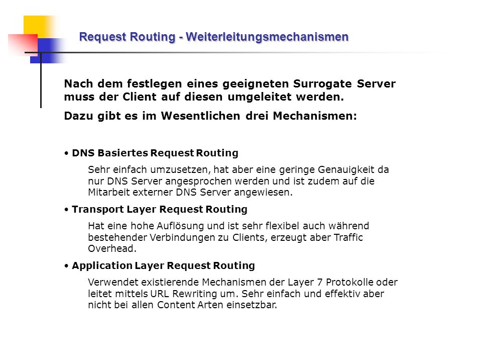 Request Routing - Weiterleitungsmechanismen