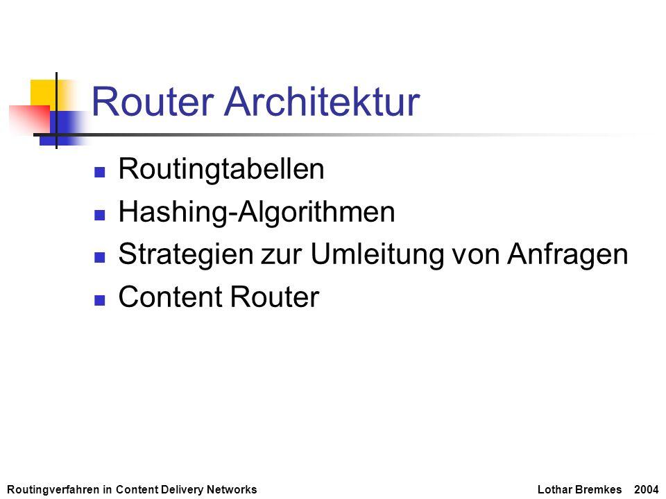Router Architektur Routingtabellen Hashing-Algorithmen