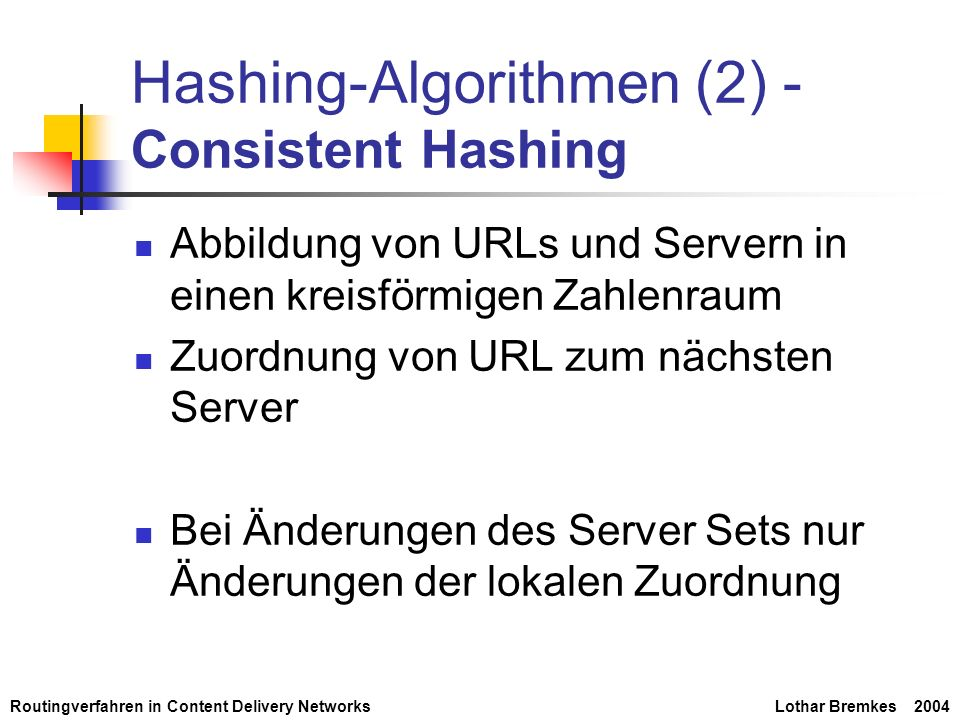 Hashing-Algorithmen (2) - Consistent Hashing