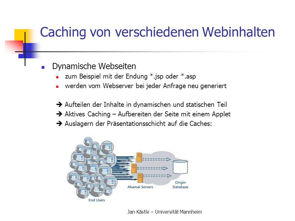 Caching von verschiedenen Webinhalten