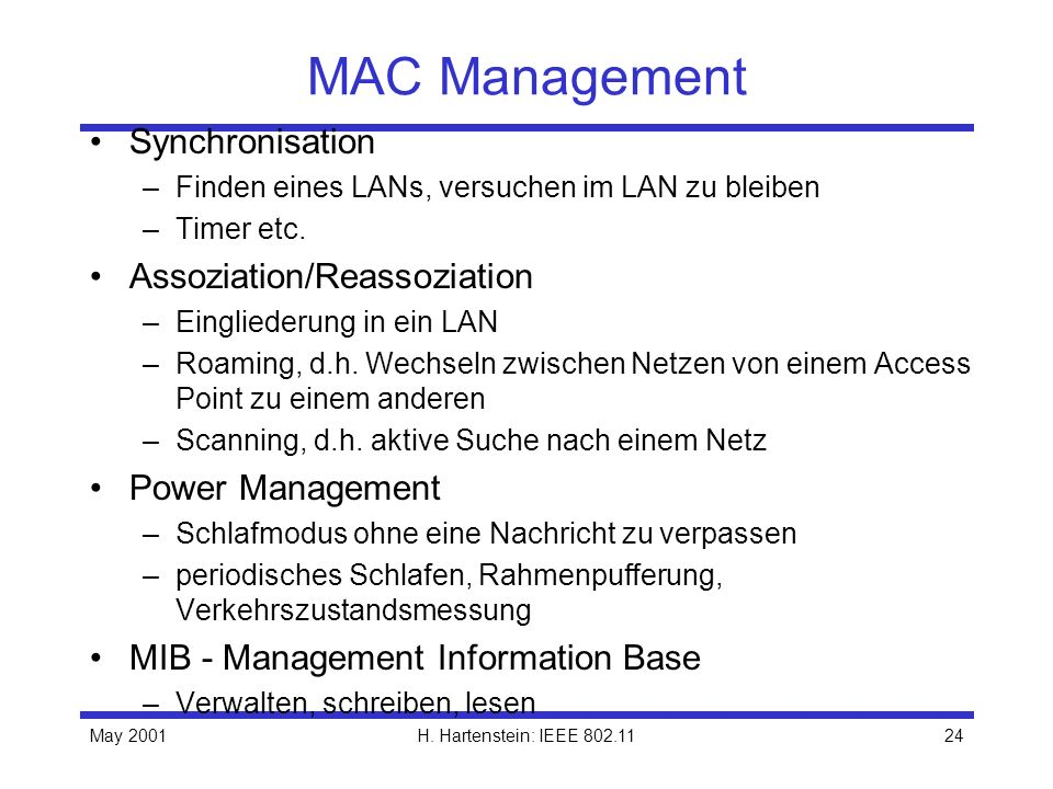 MAC Management Synchronisation Assoziation/Reassoziation