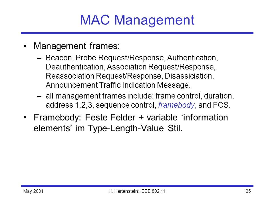 MAC Management Management frames: