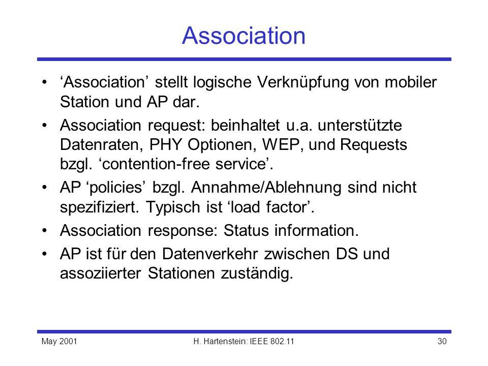 Association 'Association' stellt logische Verknüpfung von mobiler Station und AP dar.