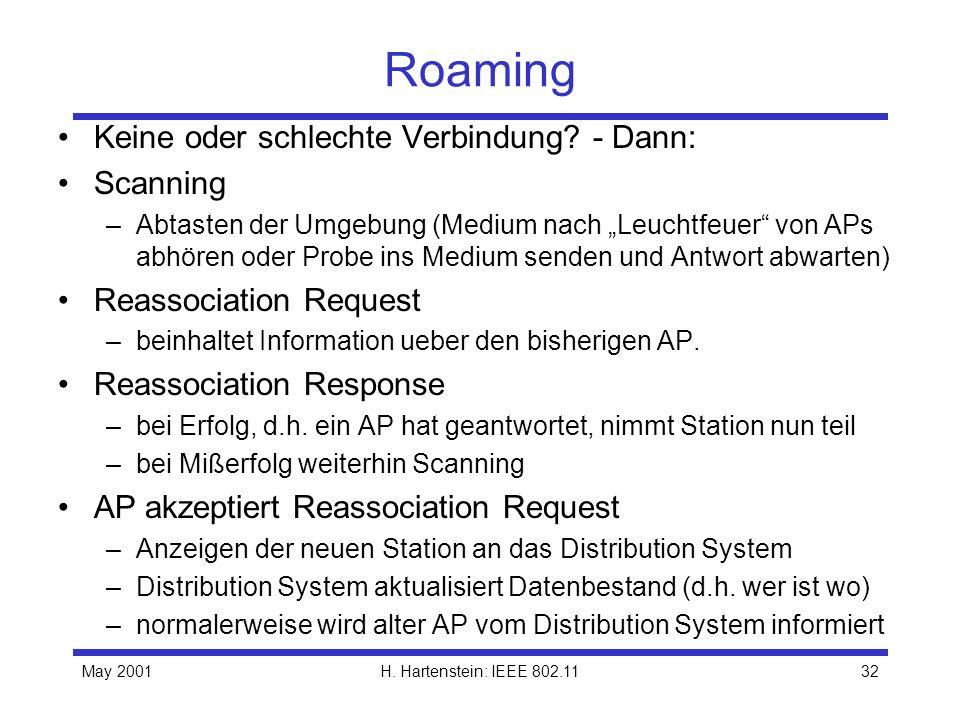 Roaming Keine oder schlechte Verbindung - Dann: Scanning