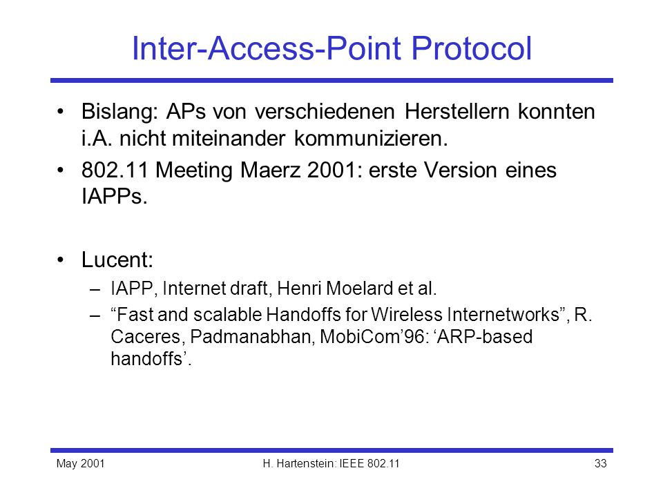 Inter-Access-Point Protocol