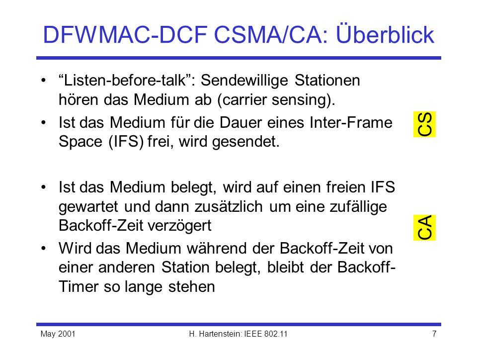 DFWMAC-DCF CSMA/CA: Überblick