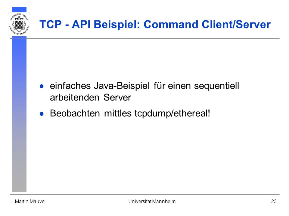 TCP - API Beispiel: Command Client/Server