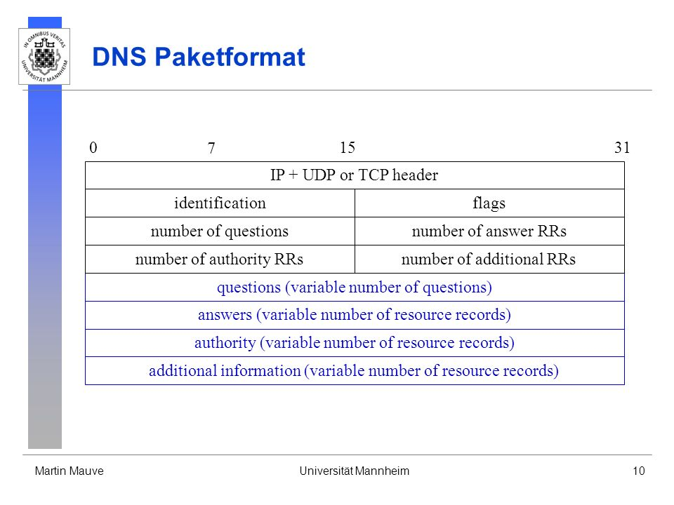 DNS Paketformat 7 15 31 IP + UDP or TCP header identification flags