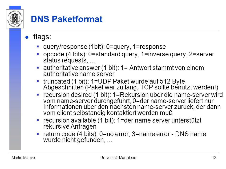 DNS Paketformat flags: query/response (1bit): 0=query, 1=response