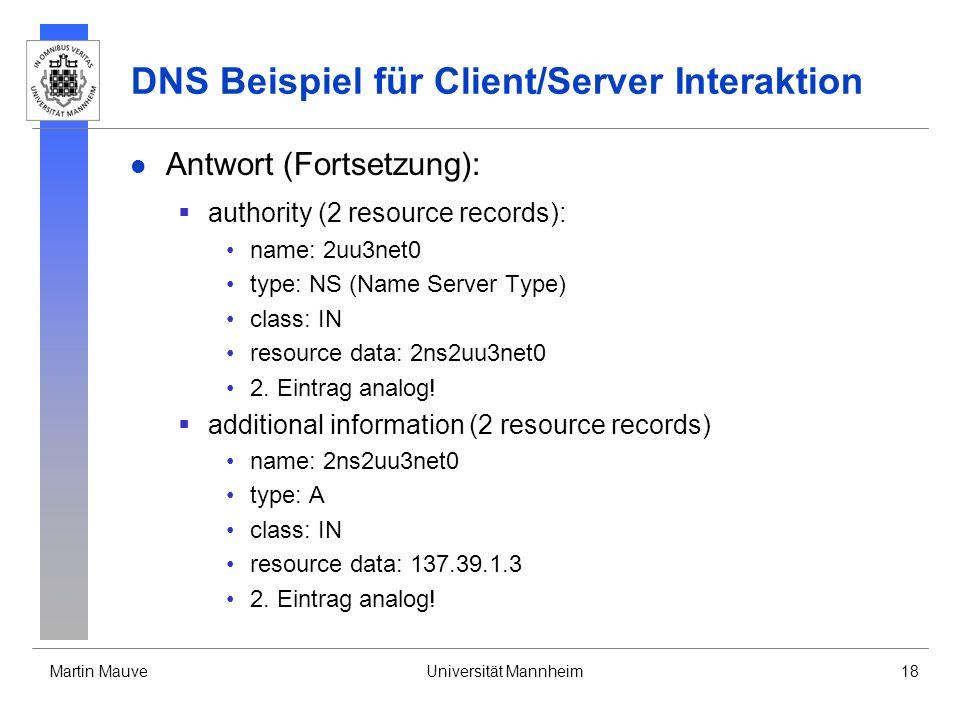 DNS Beispiel für Client/Server Interaktion