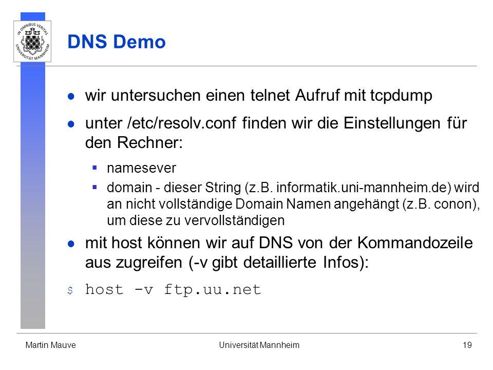 DNS Demo wir untersuchen einen telnet Aufruf mit tcpdump
