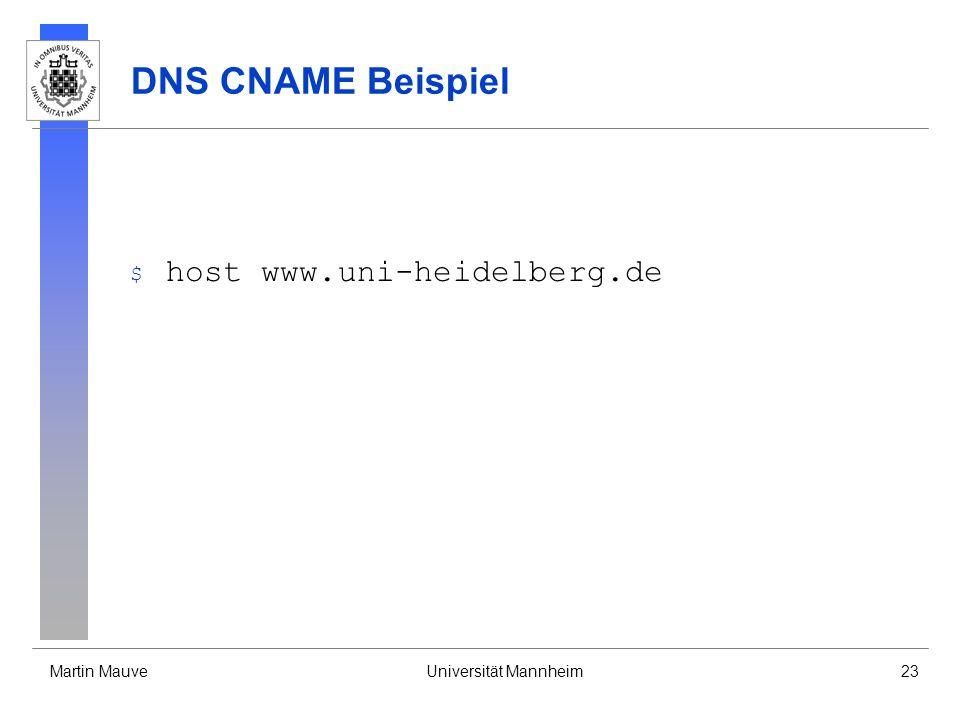 DNS CNAME Beispiel host www.uni-heidelberg.de