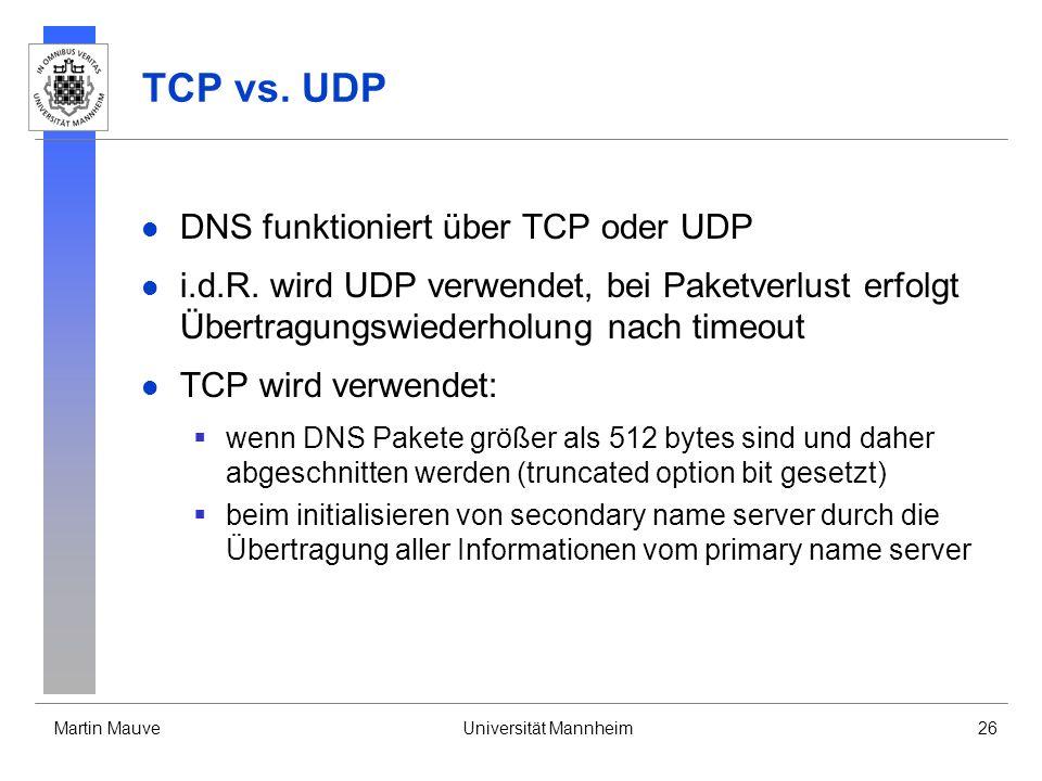 TCP vs. UDP DNS funktioniert über TCP oder UDP